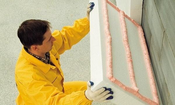 утепление стен использование клея